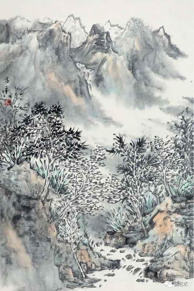 山水清音图 中国画 68×45CM