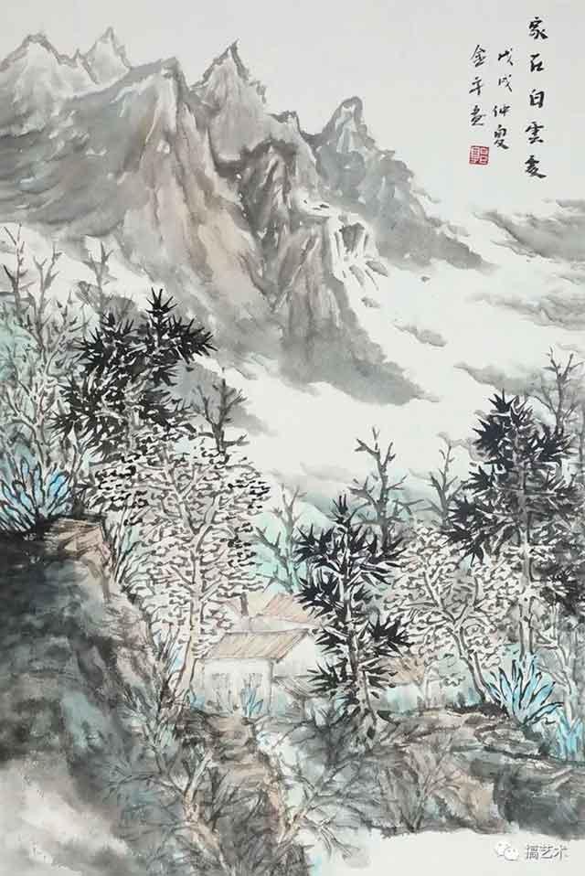 家在白云处 中国画 68×45CM