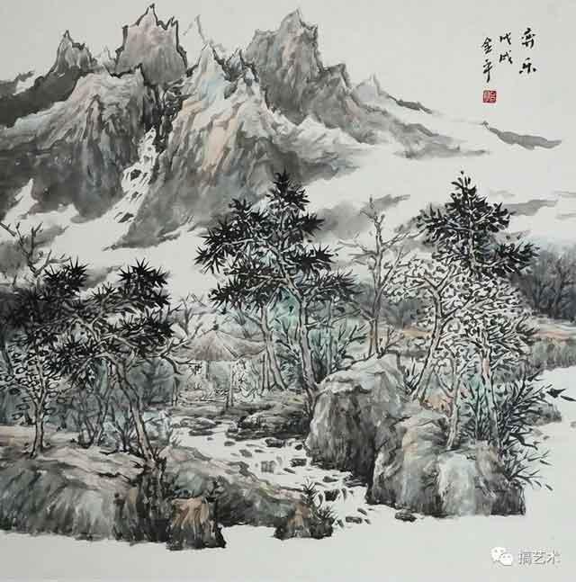 弈乐 中国画 68×68CM
