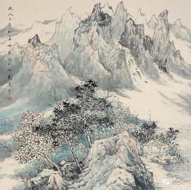 流水万古 中国画 68×68CM