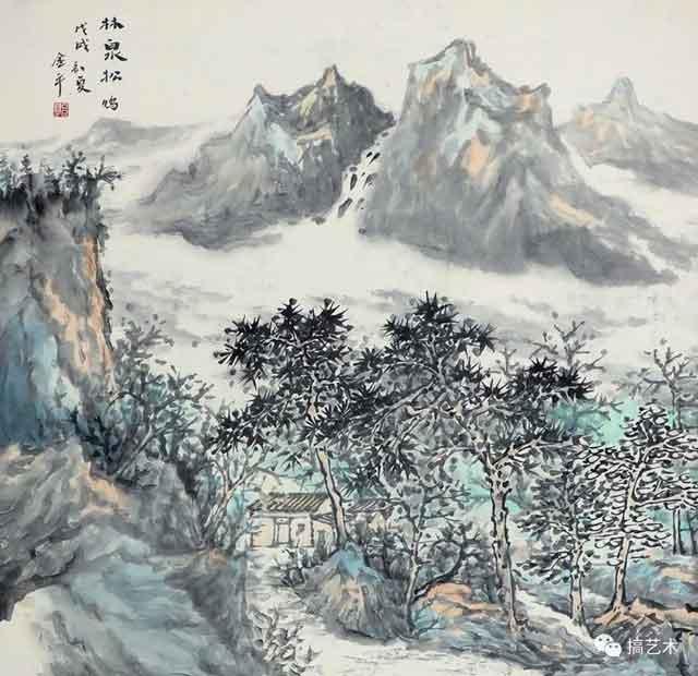 林泉松鸣 中国画 68×68CM