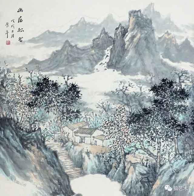 幽居松谷 中国画 68×68CM