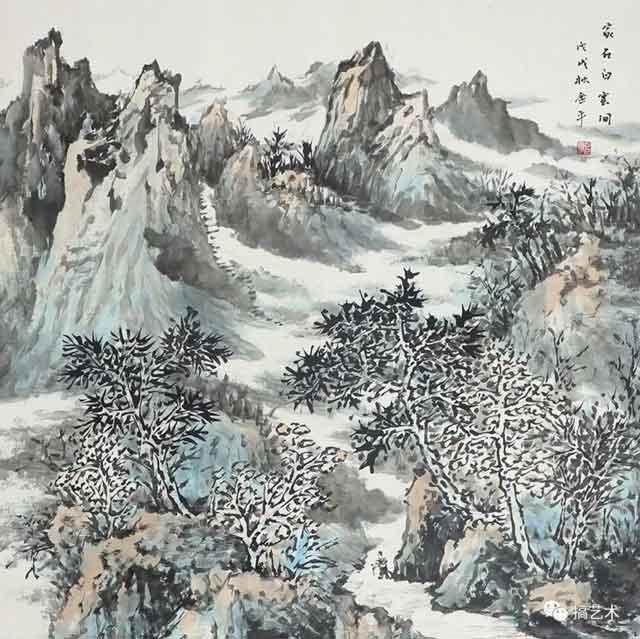 家在白云间 中国画 68×68CM