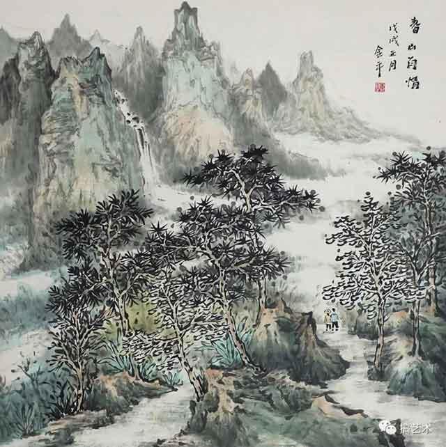 春山有情 中国画 68×68CM