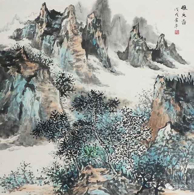 樵乐图 中国画 68×68CM