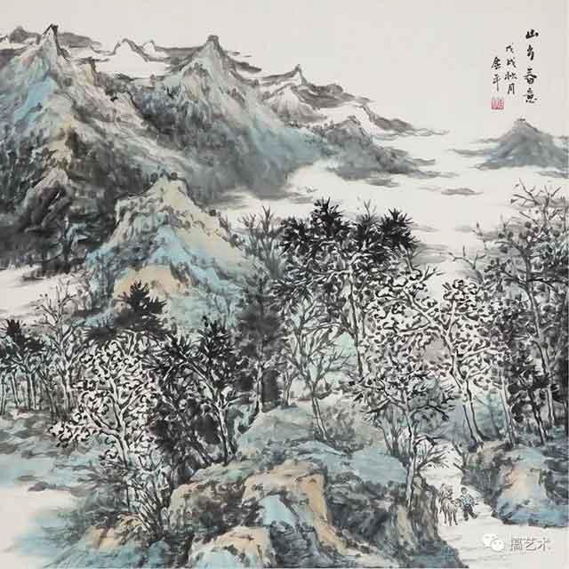 山乡春意 中国画 68×68CM