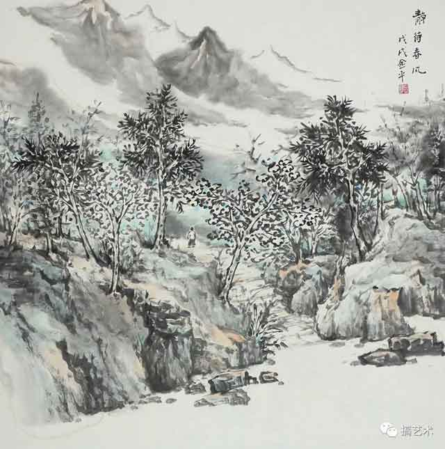 静待春风 中国画 68×68CM