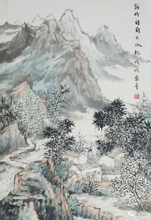 山居图 中国画 68×68CM