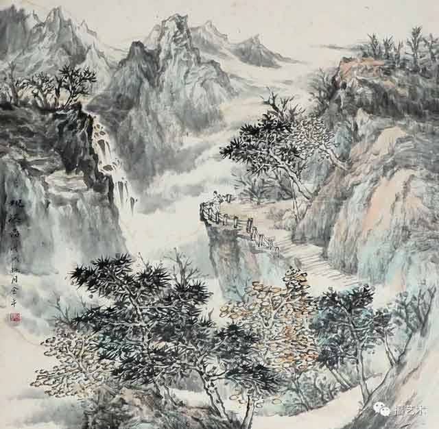 观瀑图 中国画 68×68CM