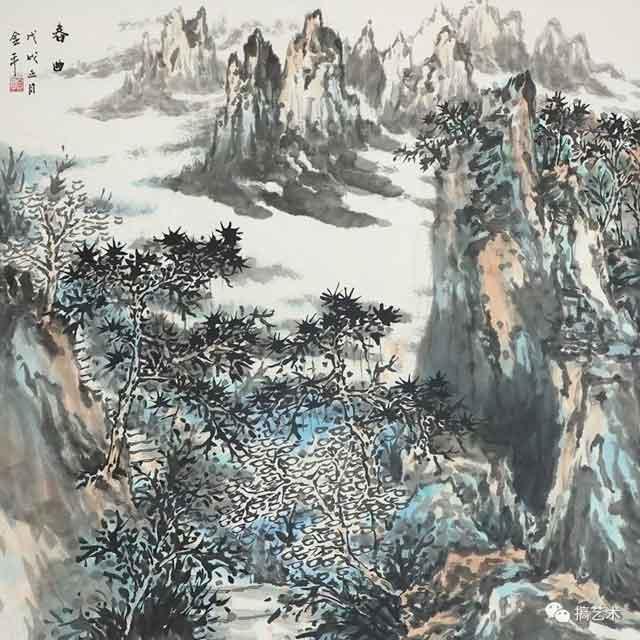 春曲 中国画 68×68CM