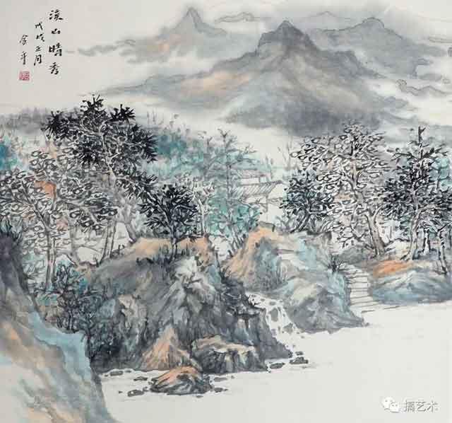 溪山晴秀 中国画 68×68CM